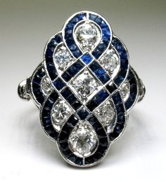 Rosamaria G Frangini | High Deep Blue Jewellery | Antique Art Deco Platinum, Diamond and Sapphire Ring.