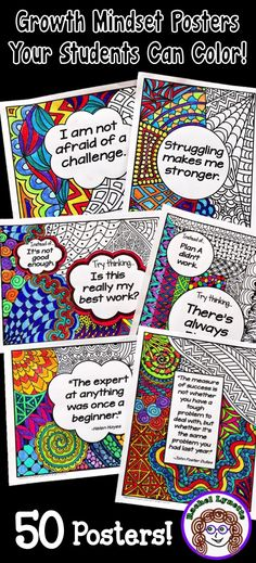 Make Coloring Meaningful And Decorate Your Classroom With These 50 Growth Mindset Poster That Your Students Can Color Includes Fixed Vs. Development Mindset Statements, Affirmations, And Quotes. Social Emotional Learning, Social Skills, Social Work, Growth Mindset Posters, Growth Mindset Classroom, Leader In Me, Bulletins, Classroom Community, Beginning Of School