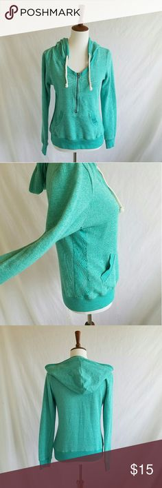 Miss Chievous Teal Lace Pullover Hoodie Gently used . stretchy.  Semi sheer lace panel on sides . Half zip . Kangaroo pouch .  #040504 Miss Chievous Tops Sweatshirts & Hoodies