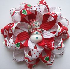 Flower Loop Bow with Christmas Trees, Stars, Candy Canes and a Snowman Resin Center