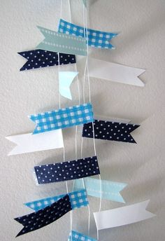 Blue Flag Party Bunting from Washi tape Orange flags too... Wedding party backdrop idea for an entire wall.