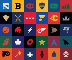 Minimalist versions of current NHL team logos  ... Watch Hockey on your mobile FREE : http://www.amazon.com/gp/mas/dl/android?asin=B00FVD65JG
