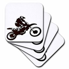 3dRose cst_78777_1 Motocross Bike Off Road Motocross Motorcycle Motor Radical Silhouette Tricks Soft Coasters Set of 4 ** Check out the image by visiting the link. (This is an affiliate link)
