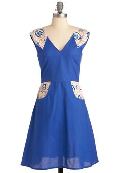 Good for You Dress by Mata Traders - Mid-length, Blue, Multi, Floral, Pockets, Casual, Handmade & DIY, A-line, Cap Sleeves