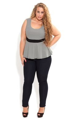 City Chic - Sleeveless Peplum Top - Women's plus size fashion