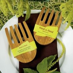 My guests would love these Eco-Friendly Hand in Hand Bamboo Server wedding favors