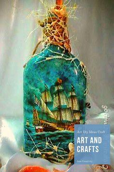 how to fabric decoupage wine bottle ile ilgili görsel sonucu Wine Bottle Art, Painted Wine Bottles, Diy Bottle, Painted Wine Glasses, Wine Bottle Crafts, Bottles And Jars, Jar Crafts, Bottle Lamps, Bottle Vase
