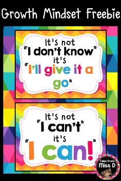 Encourage a Growth Mindset in your classroom with these bright and colourful posters. Other Growth Mindset Posters & Resources available from Tales From Miss D on TPT. © Tales From Miss D