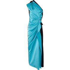 Lanvin Two-tone asymmetric satin gown ($3,782) found on Polyvore