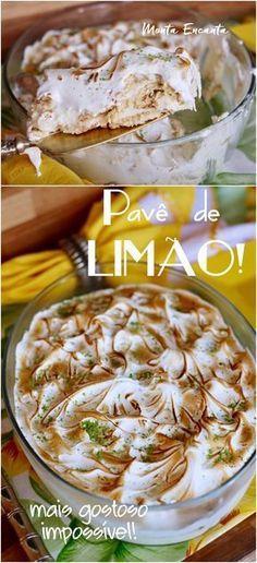 Se você como eu, é fã da Torta de Limão, vai enlouquecer com este Pavê de limão com bolachas, creme de Limão e cobertura de marshmallow. . Fresco e equilibrado! O contraste do azedinho do limão com o açúcar do leite condensado, fazem desta sobremesa um sucesso. E fácil de preparar...