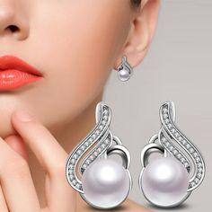2017 Hot Exquisite Cultivation Pearl Earrings Paved Austrian CZ Zircon Rhinestone Stud Earrings For Women Statement Fine Jewelry