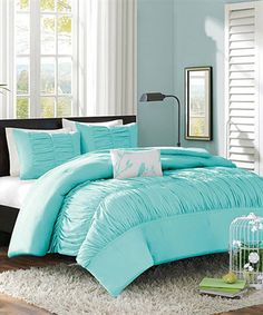 Take a look at this JLA Home Light Blue Ruched Chelsea Four-Piece Duvet Set today!