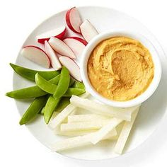 Red pepper hummus (1/4 cup) with as many sugar snap peas, radishes or jicama sticks as you'd like to dip    Energy boost! Thanks to the mix of whole-grain carbs and protein