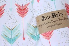 Coral and Aqua Arrow Baby Blanket - Designer Custom Organic Baby Blanket, Swaddle Wrap, Toddler Blanket by JuteBaby