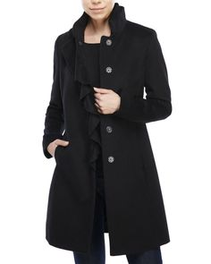 "Check out ""Ruffle Front Wool-Blend Coat"" from Century 21"