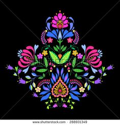 folk flowers, decorative symmetric vector floral illustration. beautiful naive cut out elements and ornaments in Polish style bouquet.