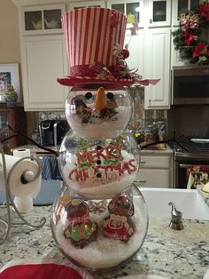 Snowman Fishbowl Christmas Deco....no tutorial but seems easy to make