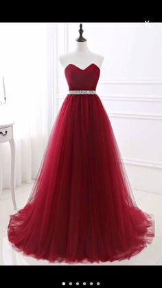 Elegant Lace-up Strapless Sweetheart Tulle Red Prom Dress - Summer Bridesmaid Dresses, Prom Girl Dresses, Ball Dresses, Homecoming Dresses, Formal Dresses, Party Dresses With Sleeves, Gorgeous Prom Dresses, Quince Dresses, Evening Dresses