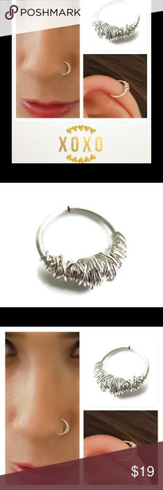 ⚡️ 925 Sterling Silver Piercing Hoop A single Piercing hoop made of 925 Sterling silver. Available in 3 gauges (thicknesses) nejd Jewelry