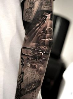 A true picture of the war beautifully woven into one big tattoo. There are black clouds as a symbol of the evil time and fate of a country in a given period of time.