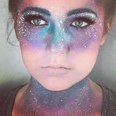 Close up of the Galaxy makeup ✨ Model: my sister Kylie . - - Close up of the Galaxy makeup ✨ Model: my sister Kylie . Clown Makeup, Costume Makeup, Makeup Art, Coco Costume, Kylie Makeup, Makeup Style, Makeup Ideas, Halloween Makeup Games, Halloween Make Up
