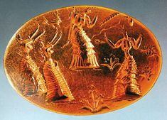 A Minoan gold seal featuring some very curvy dancing ladies .  A goddess-driven society - Snake Goddess is merely one example - Minoans clearly celebrated women. Most of the artifacts from Minoan society feature women, either alone or in groups. It is believed that women in Minoan society actively participated if not dominated the society's religious practices and events. Men are rarely depicted in Minoan art and other artifacts, and if they are they are rarely shown in positions of power.