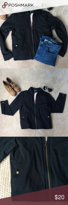 "Black Ralph Lauren Jacket Lightweight 100% cotton jacket. Has cute snap details on the front pockets and cuffs. Has a collar. Size medium. 22.5"" long x 18"" wide. Sleeves are 24"" long from the shoulder seam to end. In excellent condition. Perfect fall jacket. Ralph Lauren Jackets & Coats"