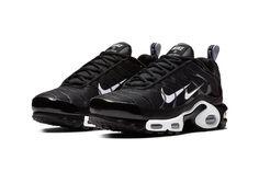 "watch 9c600 c7868 Nike Air Max Plus ""Overbranding"" Series Double Swoosh Black White Sneaker  Shoe Nike Air"