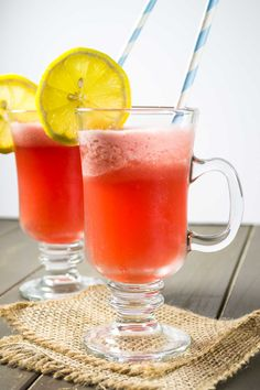 A healthy recipe for sparkling watermelon lemonade made using fresh ingredients with a touch of maple syrup as sweetener. A refreshing summer drink!