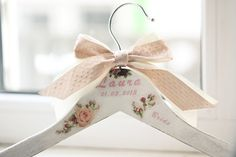 Vintage inspired wedding hanger with a picture of сouple 2 birds in their nest in the rose-bush, as a symbol of eternal love and fidelity. There
