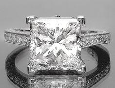 4.15 CARAT SQUARE PRINCESS CUT DIAMOND ENGAGEMENT RING WEDDING RING 14k Gold