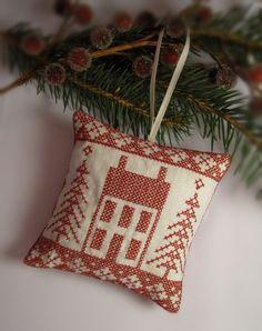 Cross Stitched Folk Art Ornament  house by CherieWheeler on Etsy, $9.00
