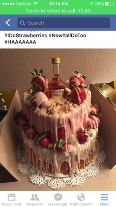 Strawberry hennessey cake