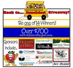 Be 1 of 14 winners in this AWESOME Back to Homeschool Giveaway! **Over $700 worth of prizes are being given away ** Giveaway Dates: August 1st - 7th 2014 To enter...Go to: http://www.christianhomeschoolhub.com/giveaways.htm
