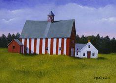 Barn Praising , oil on panel, 6 x 8 inches, Marieluise Hutchinson.