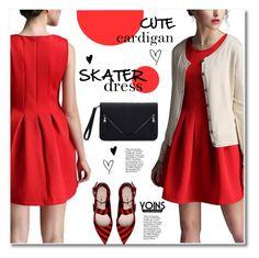 """Skater dress"" by svijetlana ❤ liked on Polyvore featuring mode, Miu Miu, skaterdress, polyvoreeditorial, yoins et cutecardigan"
