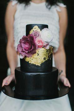 Black Wedding Cake with Gold Leaf   Milou and Olin Photography   Dark Romance Wedding