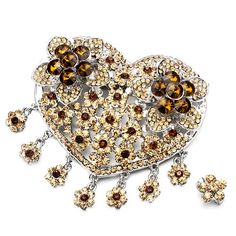 Pugster Luxury Vintage November Birthstone Topaz Crystal Heart Flower Set Brooches And Pins | Your #1 Source for Jewelry and Accessories