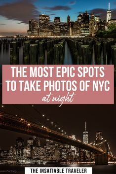 Manhattan at night is magical and to capture the stunning views of the New York Skyline there are a few prime locations for photography. Nyc At Night, Night City, New York Travel, Usa Travel, Brooklyn Bridge Park, Riverside Park, Nyc Skyline, Before Sunset