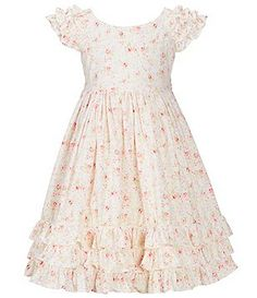 Laura Ashley London Little Girls 2T-6X Flutter-Sleeve Ditsy-Floral Ruffled A-Line Dress
