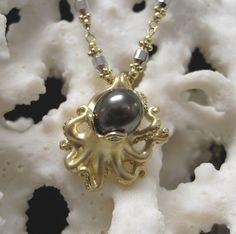 Steven Douglas 14K Octopus Pendant with Cultured Tahitian Pearl
