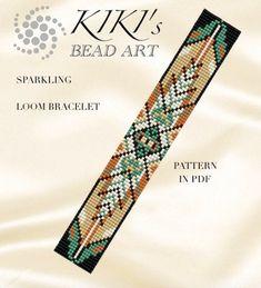 Bead loom pattern Sparkling ethnic inspired LOOM bracelet – Ozben Ulutürk – Join the world of pin Loom Bracelet Patterns, Bead Loom Bracelets, Bead Loom Patterns, Weaving Patterns, Jewelry Patterns, Knitting Patterns, Bracelet Designs, Embroidery Patterns, Art Patterns