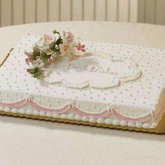 Best Wishes, adorable bridal shower cake by Publix Bakery Baby Shower Sheet Cakes, Bridal Shower Cakes, Bridal Showers, Pretty Cakes, Beautiful Cakes, Wedding Sheet Cakes, Birthday Sheet Cakes, Birthday Cake, Pastel Rectangular