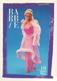 "Barbie Collectible Fashion Trading Card "" Pink Pretty Barbie "" Stole 1982 