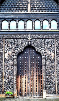 The biological science museum in Stockholm. Portal, Entrance Doors, Doorway, Behind The Green Door, Door Knobs And Knockers, Cool Doors, Door Accessories, Brick Wallpaper, Antique Doors