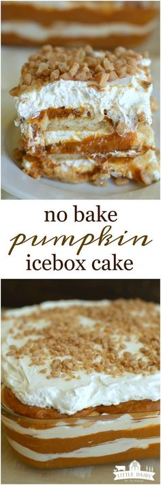 No Bake Pumpkin Toffee Icebox Cake Need an impressive dessert that's quick and easy to make? No Bake Pumpkin Toffee Icebox Cake is just the thing! It has layers of cinnamon pumpkin, cheesecake, and crunchy toffee chips! Fall Desserts, Just Desserts, Delicious Desserts, Yummy Food, Desserts Diy, Tasty, Healthy Desserts, Baked Pumpkin, Pumpkin Recipes
