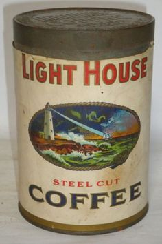 Nice-Old-Paper-Label-Tall-1-LB-Light-House-Advertising-Coffee-Tin-Can