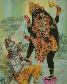 Kali and Shiva, bengali print Durga Kali, Kali Mata, Shiva Shakti, Mother Kali, Divine Mother, Kali Goddess, Mother Goddess, Goddess Art, Om Namah Shivaya