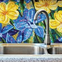 Flower power! Kitchen backsplash glass mosaic tiles made in Italy