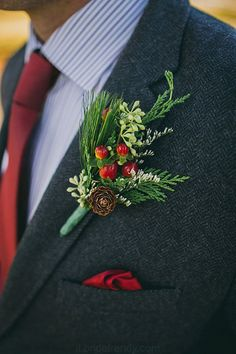 Top 11 Winter Wedding Color Palettes Top 12 Wedding Color Palettes to Warm Your Winter Day--winter Christmas wedding, groom with navy suit and burgundy tie, berry and pine boutonniere. Christmas Wedding Centerpieces, Christmas Wedding Flowers, Christmas Wedding Suits, Winter Wedding Flowers, Deco Floral, Floral Design, Winter Wonderland Wedding, Gerbera, Marie